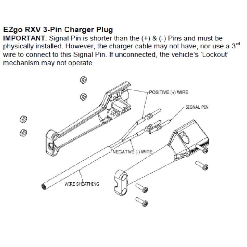 EZGO RXV Battery Charger Connector - Illustration - Explosion View